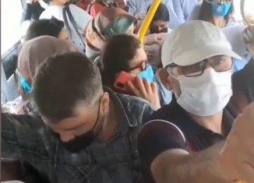 """ALIN SİZE """"TAM"""" KAPANMA..BU GÖRÜNTÜLER BURSA'DA TOPLU TAŞIM ARAÇLARINDAN"""