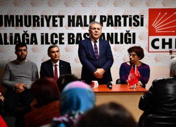 """AZİZ KOCAOĞLU İZMİR ALİAĞA'DAN SESLENDİ: """"PARTİMİN EMRİNDEYİM"""""""